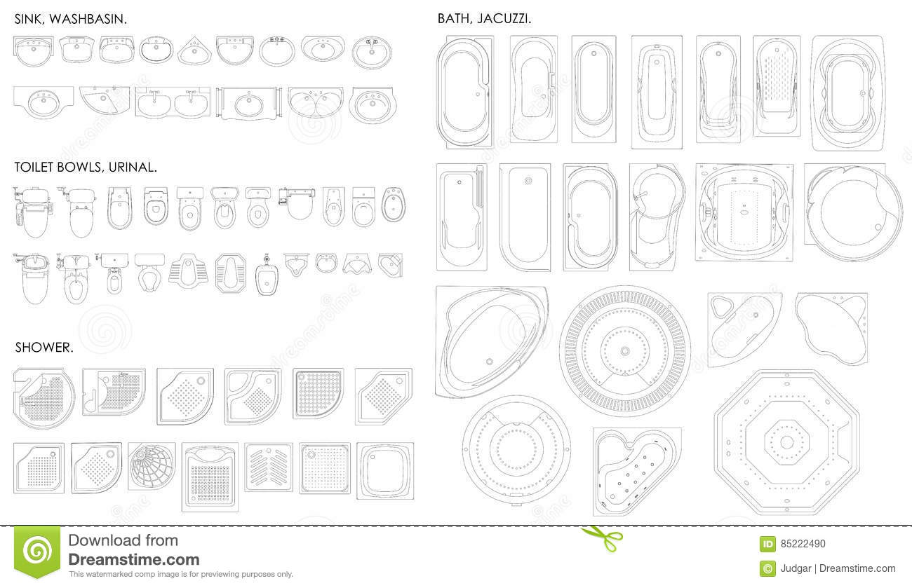 A set of equipment for the bathroom  Toilet bowl urinal  sink  bath   jacuzzi  shower Top view  Vector unshaded drawing. A Set Of Equipment For The Bathroom  Toilet Bowl urinal  Sink