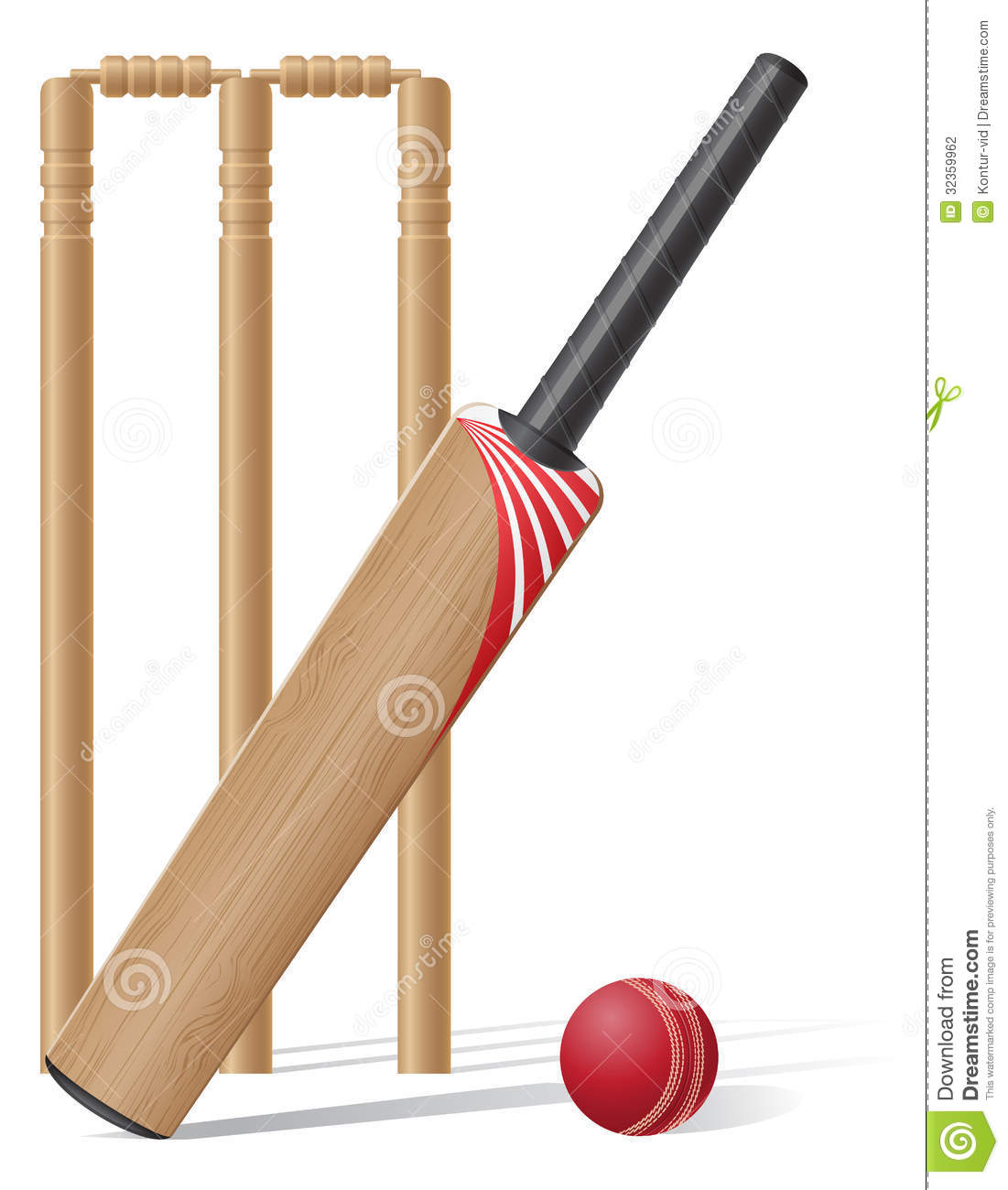 Set Equipment For Cricket Vector Illustration Stock Photography ...