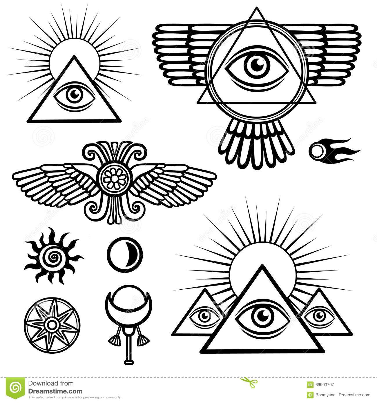 Set of esoteric symbols wings pyramid eye moon sun comet star set of esoteric symbols wings pyramid eye moon sun comet star biocorpaavc Images