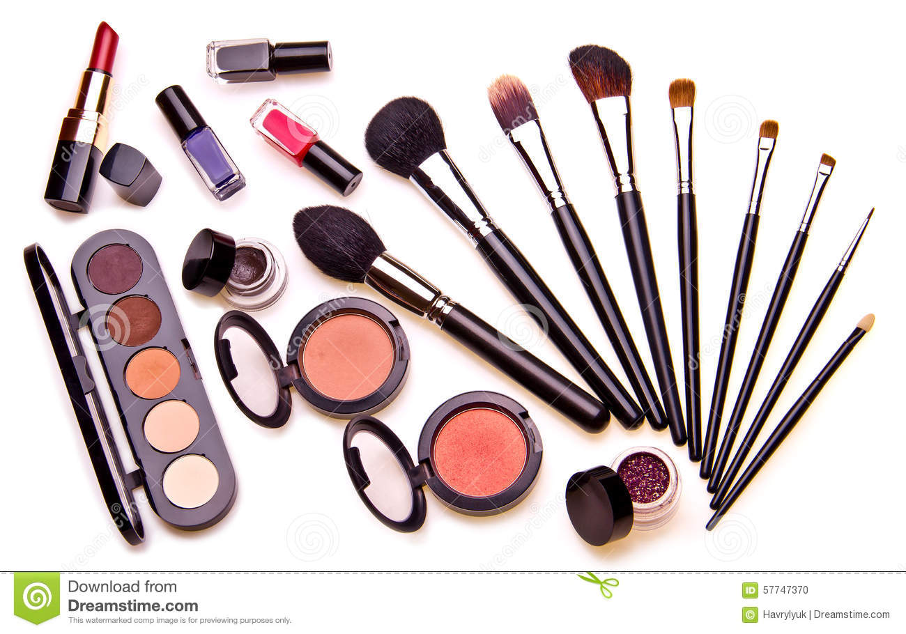 Set Of Essential Professional Make Up Tools Stock Photo