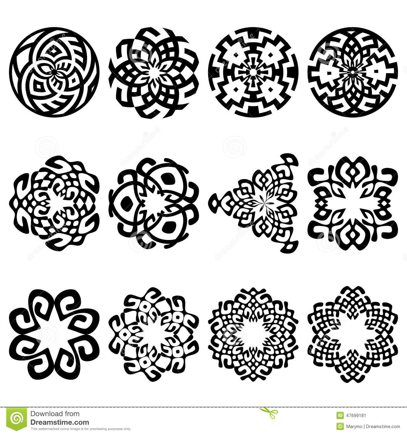 Set Of 12 Ethnic Floral Signs And Design Elements Stock