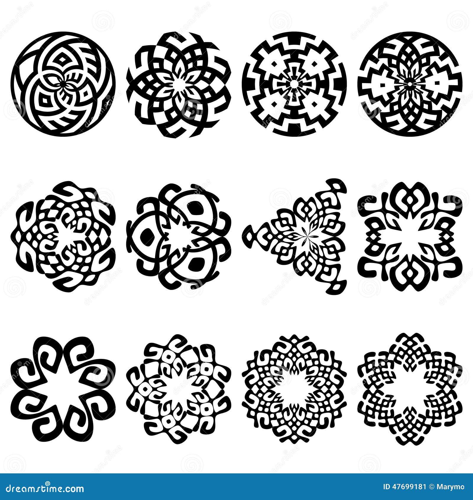 Set Of Black Flower Design Elements Vector Illustration: Set Of 12 Ethnic Floral Signs And Design Elements Stock