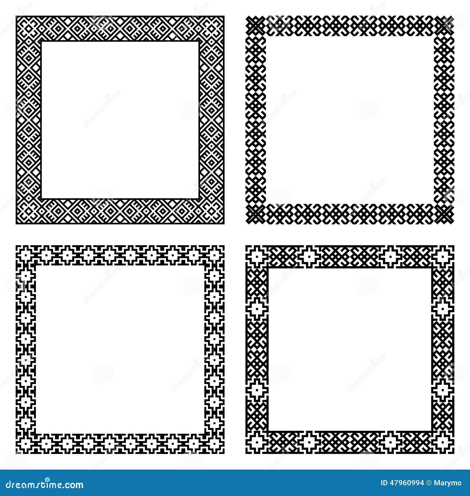 Set Of Ethnic Geometric Square Frames In Black Color Stock