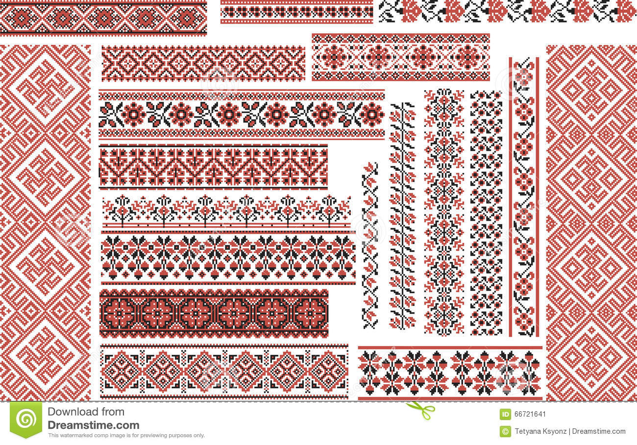 Set of ethnic patterns for embroidery stitch stock vector