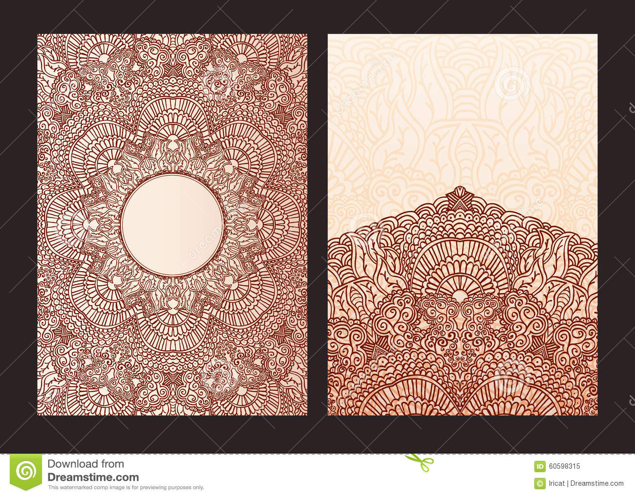 Set Of Ethnic Template For Design Wedding Invitations And Greeting