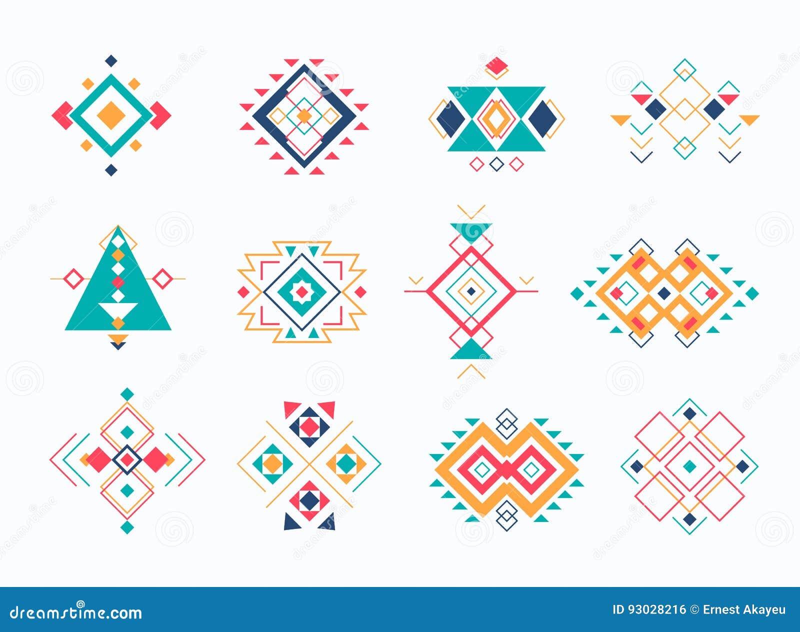Set ethno plemienni aztec symbole kolorowi geometryczni etniczni wystrojów elementy inkasowi