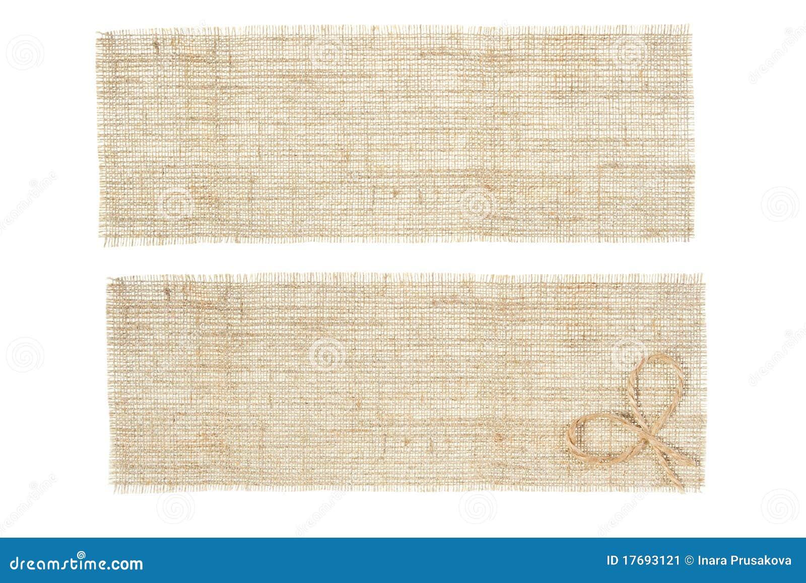 Set etiketter för sackcloth