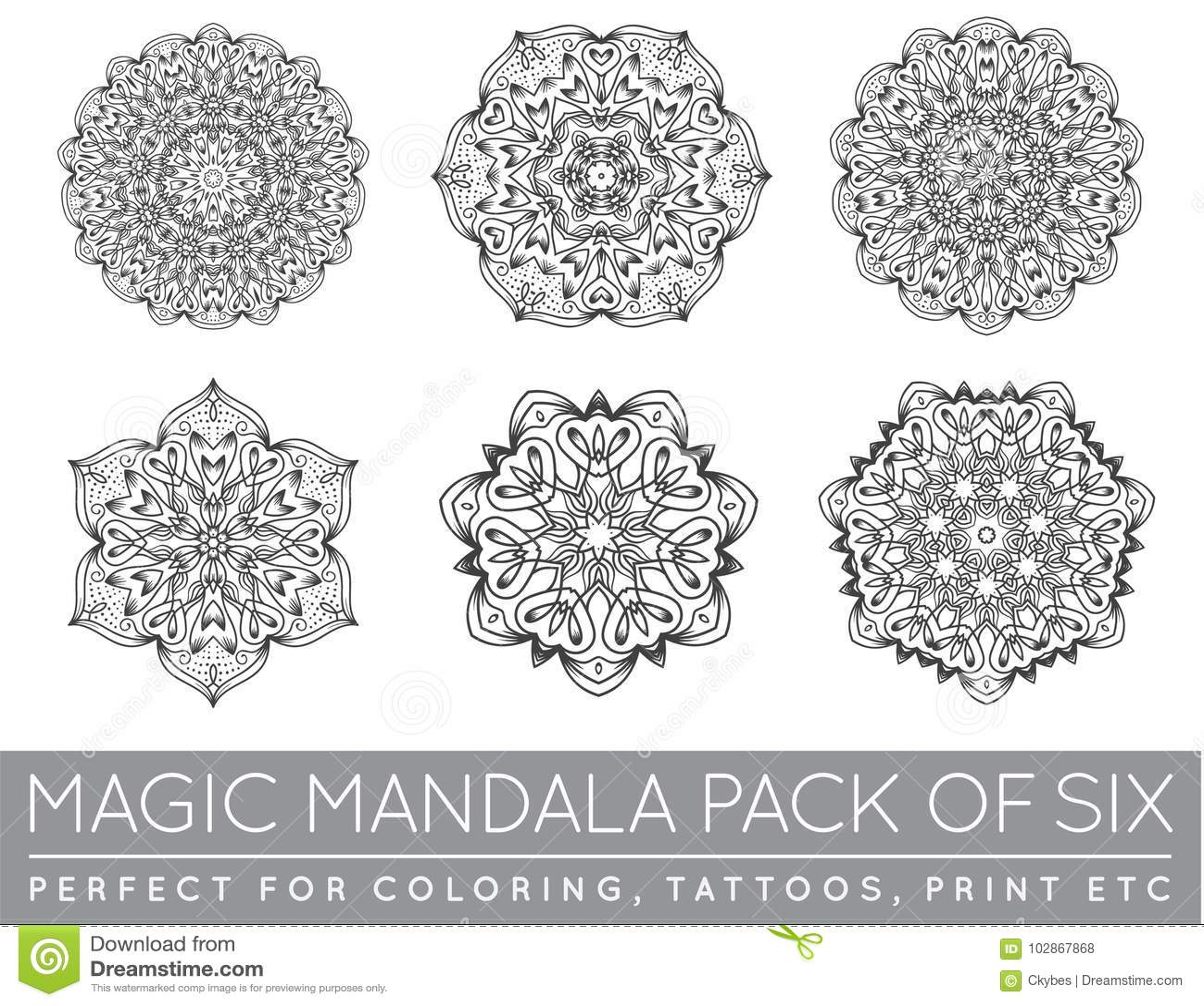 Set Etniczny Fractal Mandala Medytaci Tatuażu Wektorowi