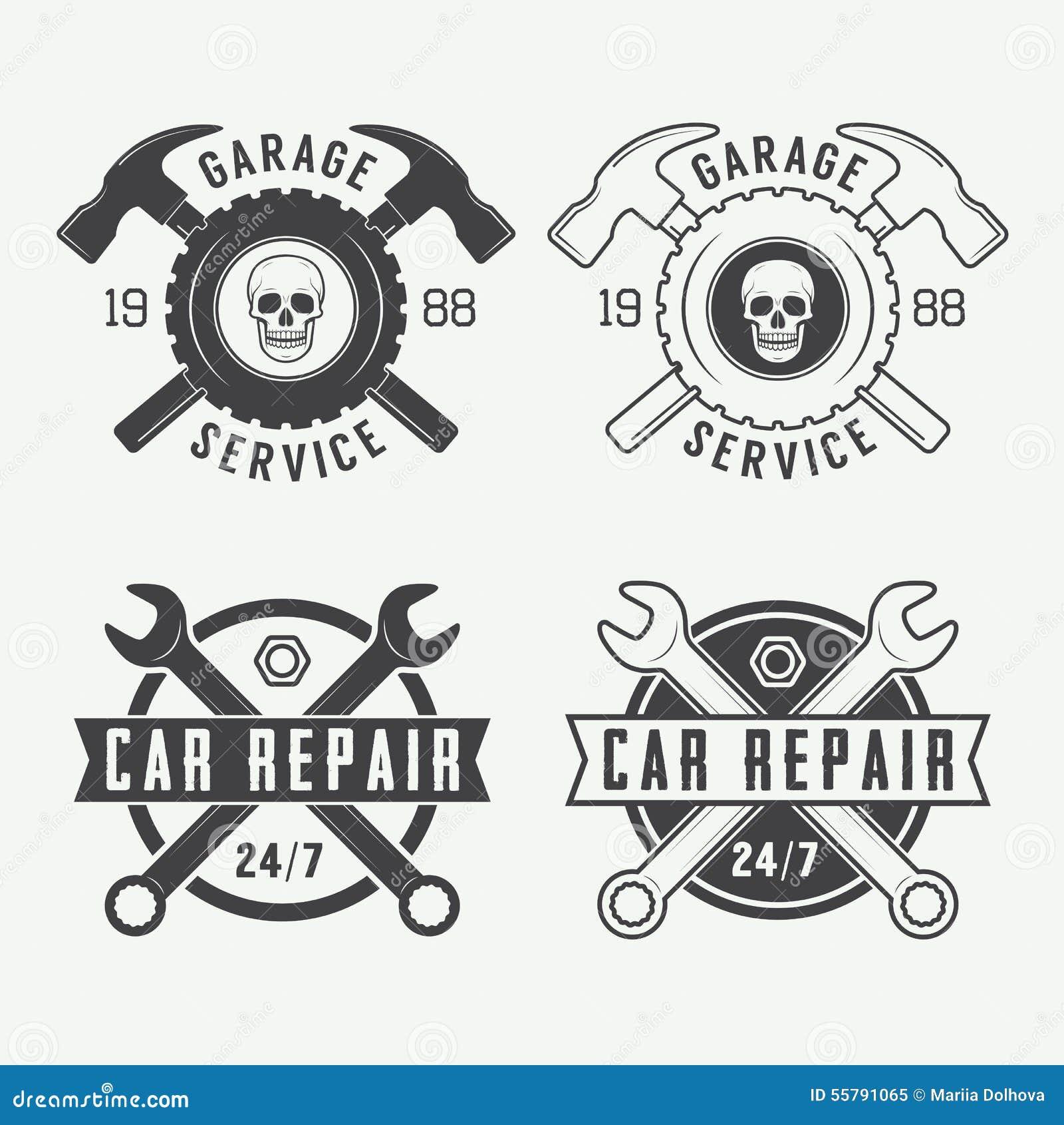 Set etykietki, emblematy i logo rocznika mechanika, również zwrócić corel ilustracji wektora