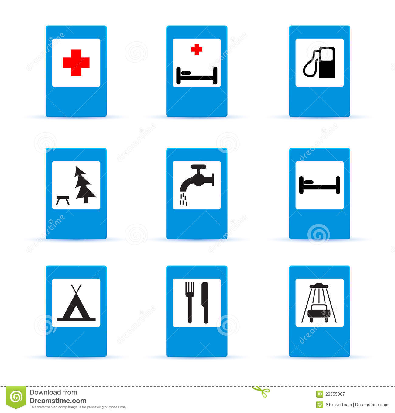 Set Of European Information Road Signs Stock Illustration