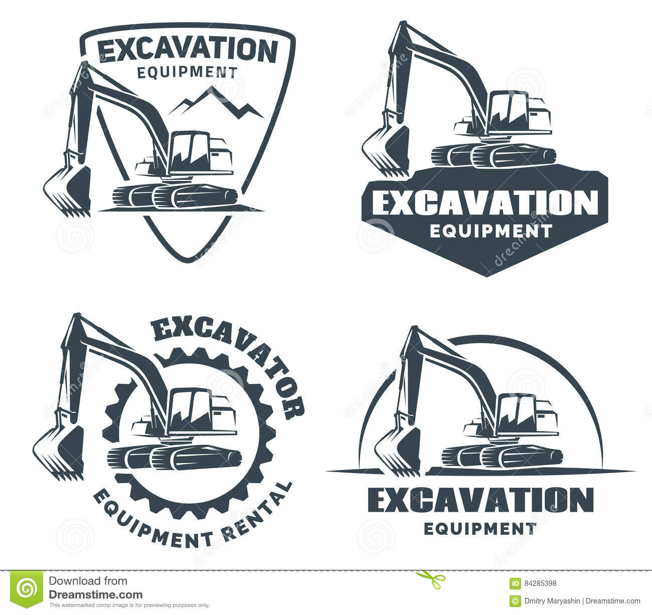 Set of excavator logo.