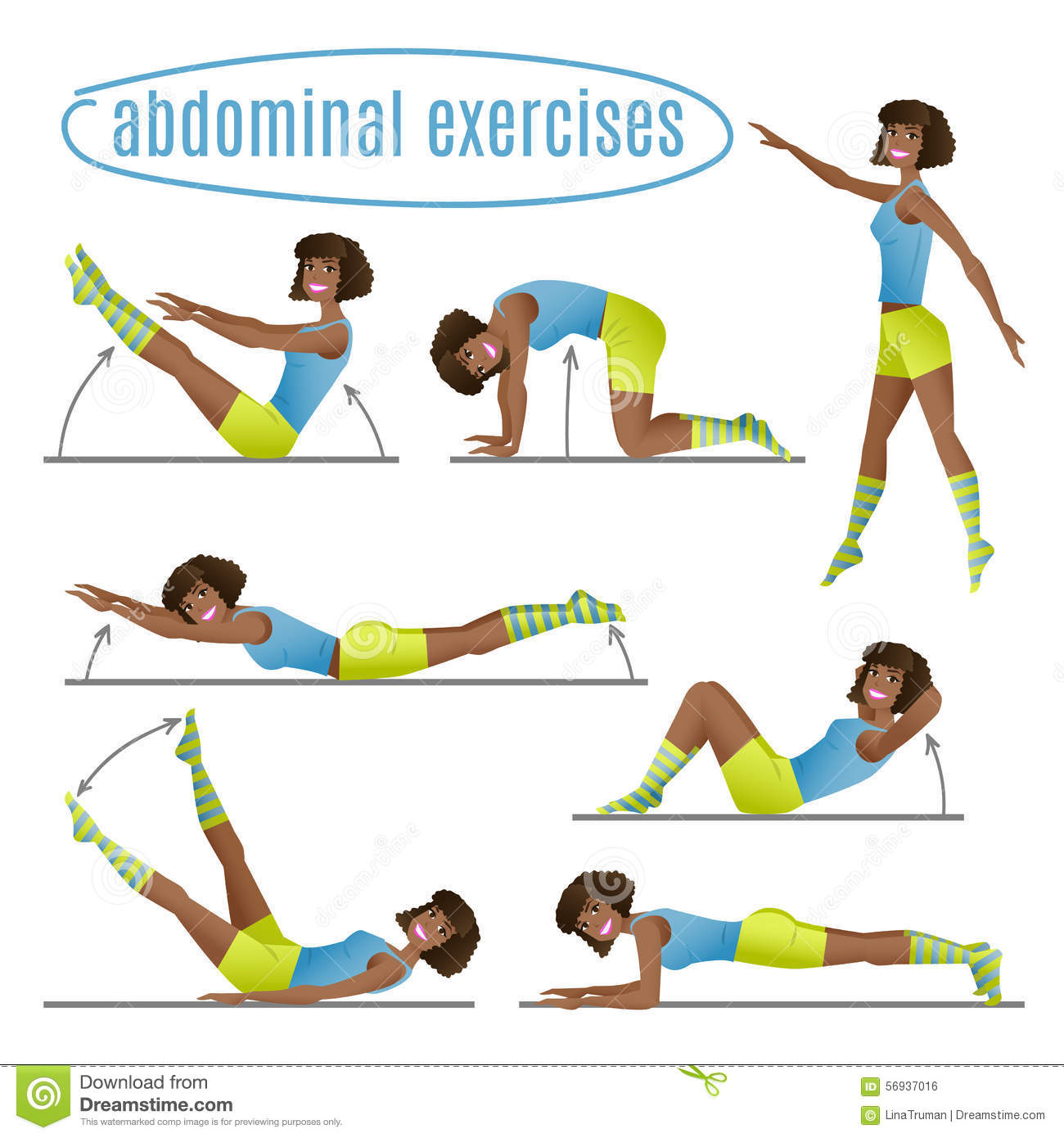 Set Of Exercises  Woman Doing Abdominal Exercises Stock