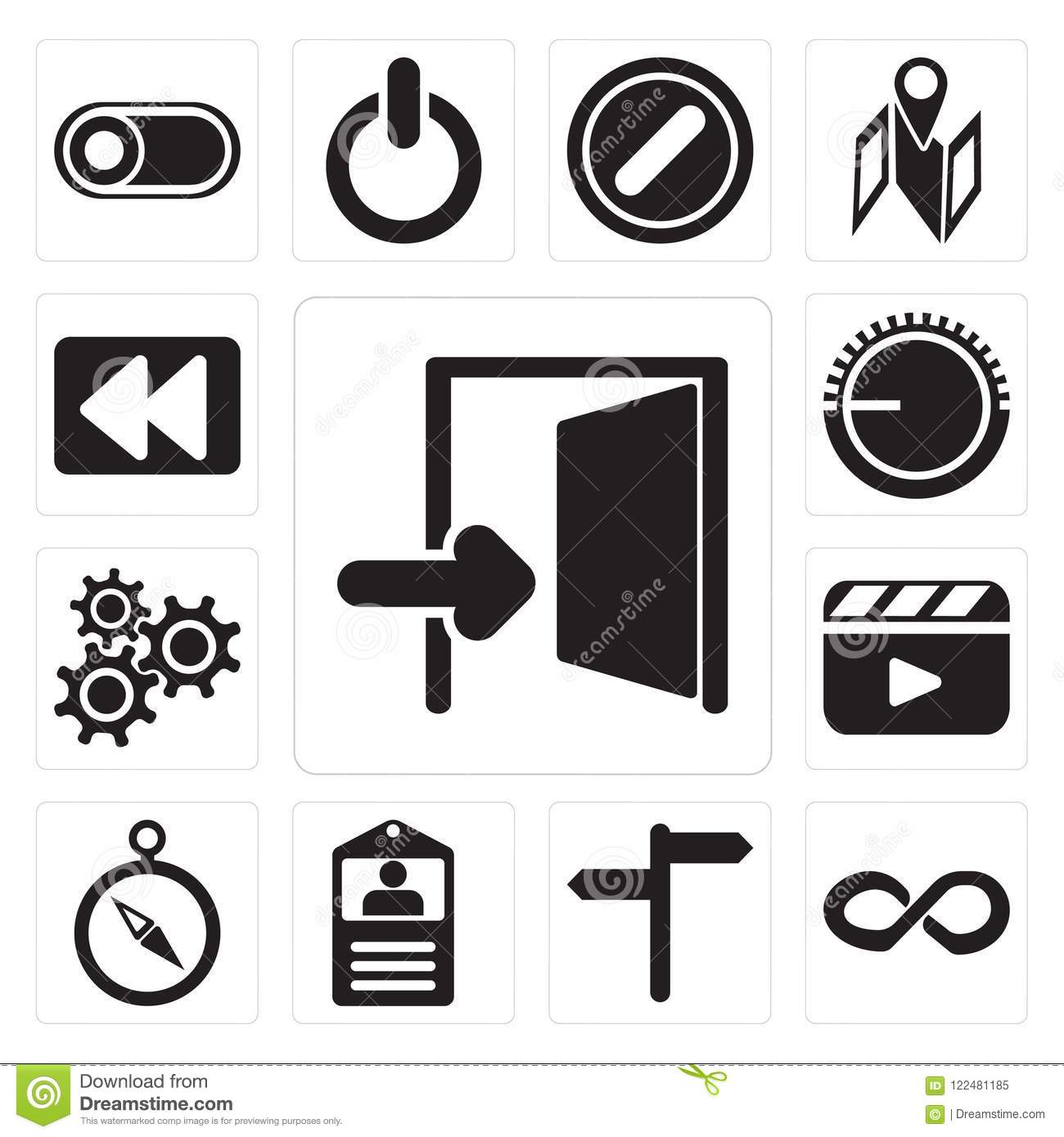 Set Of Exit, Infinity, , Id Card, Compass, Video Player, Setting