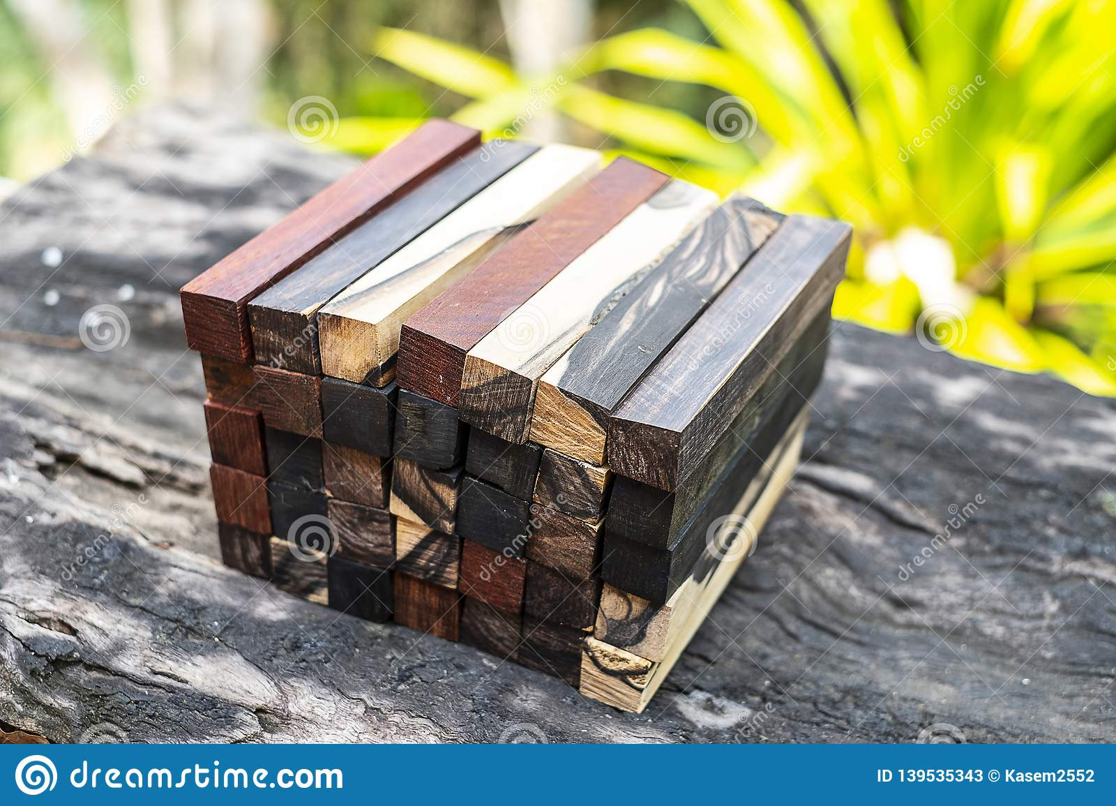 Set Exotic Wood Real For Blanks Stock Image - Image of classic
