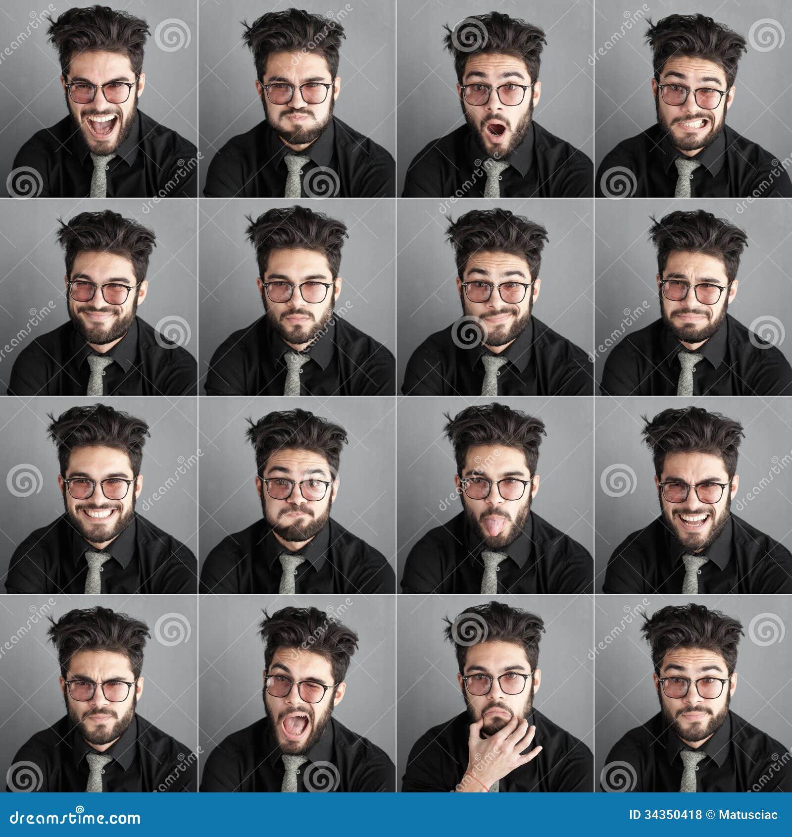 Set expresions przystojny mężczyzna z oko brodą i szkłami