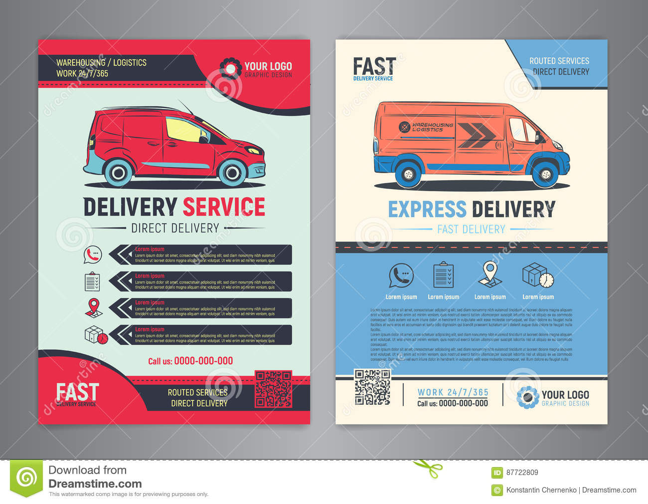 Set Of Express Delivery Service Brochure Flyer Design Layout