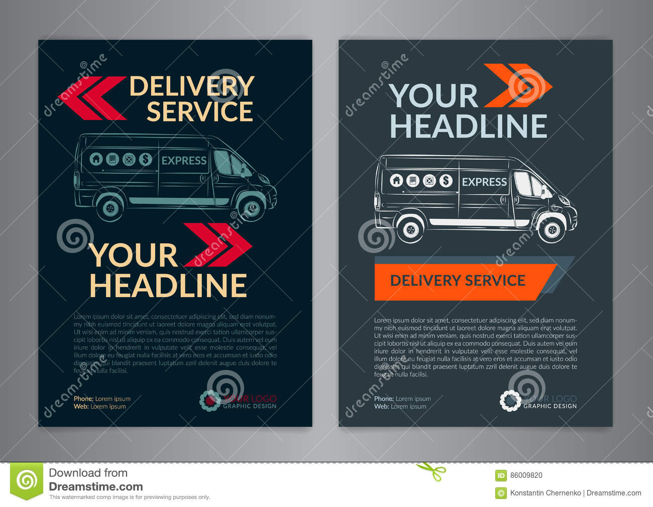 Set A4 Express Delivery Service Brochure Flyer Design Layout ...