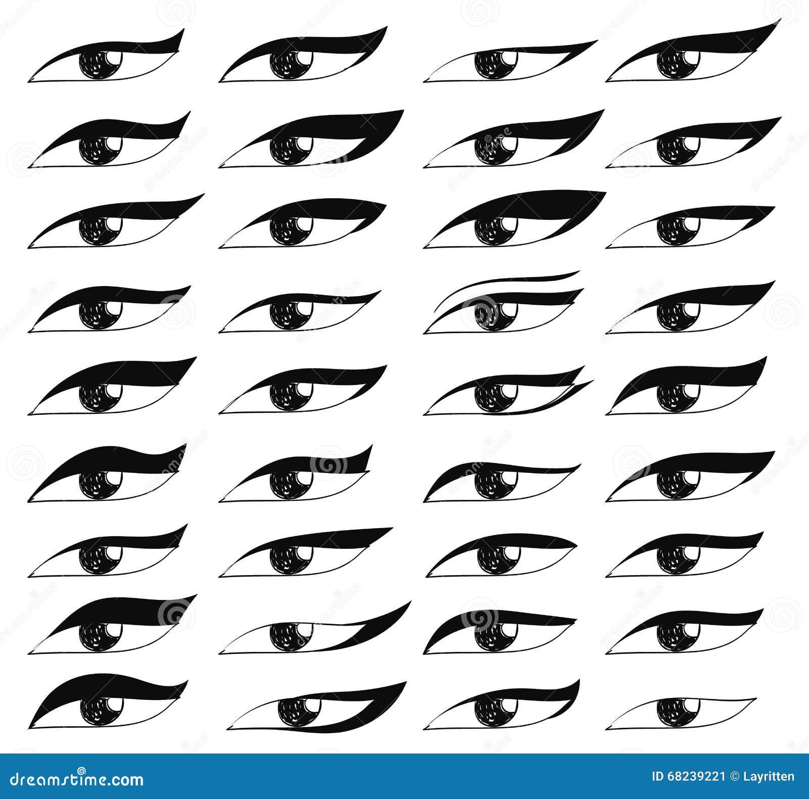 set eyes in sketch style painted eyes black eye makeup stock vector image 68239221. Black Bedroom Furniture Sets. Home Design Ideas