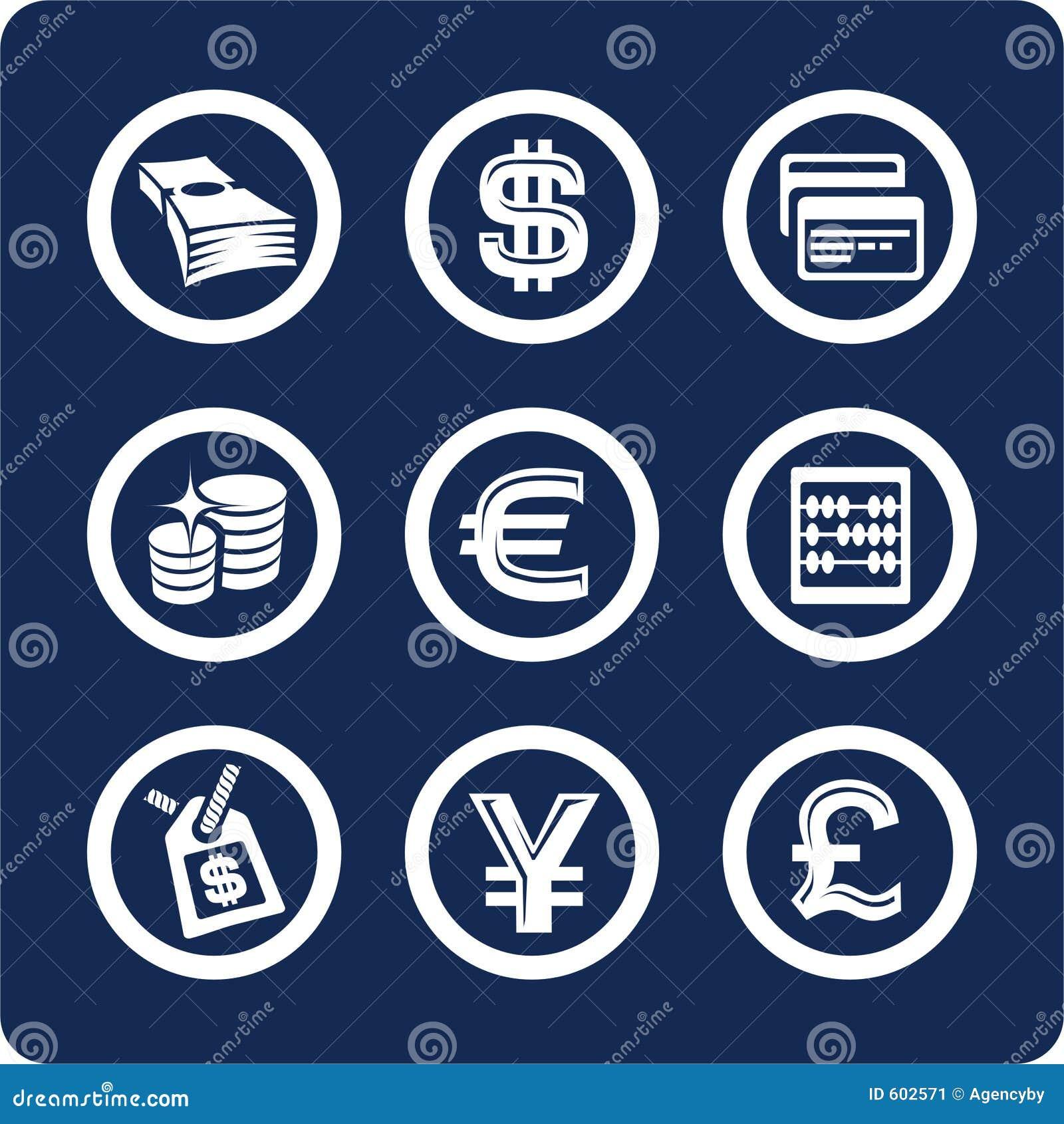 Set för del för pengar för 2 10 finanssymboler