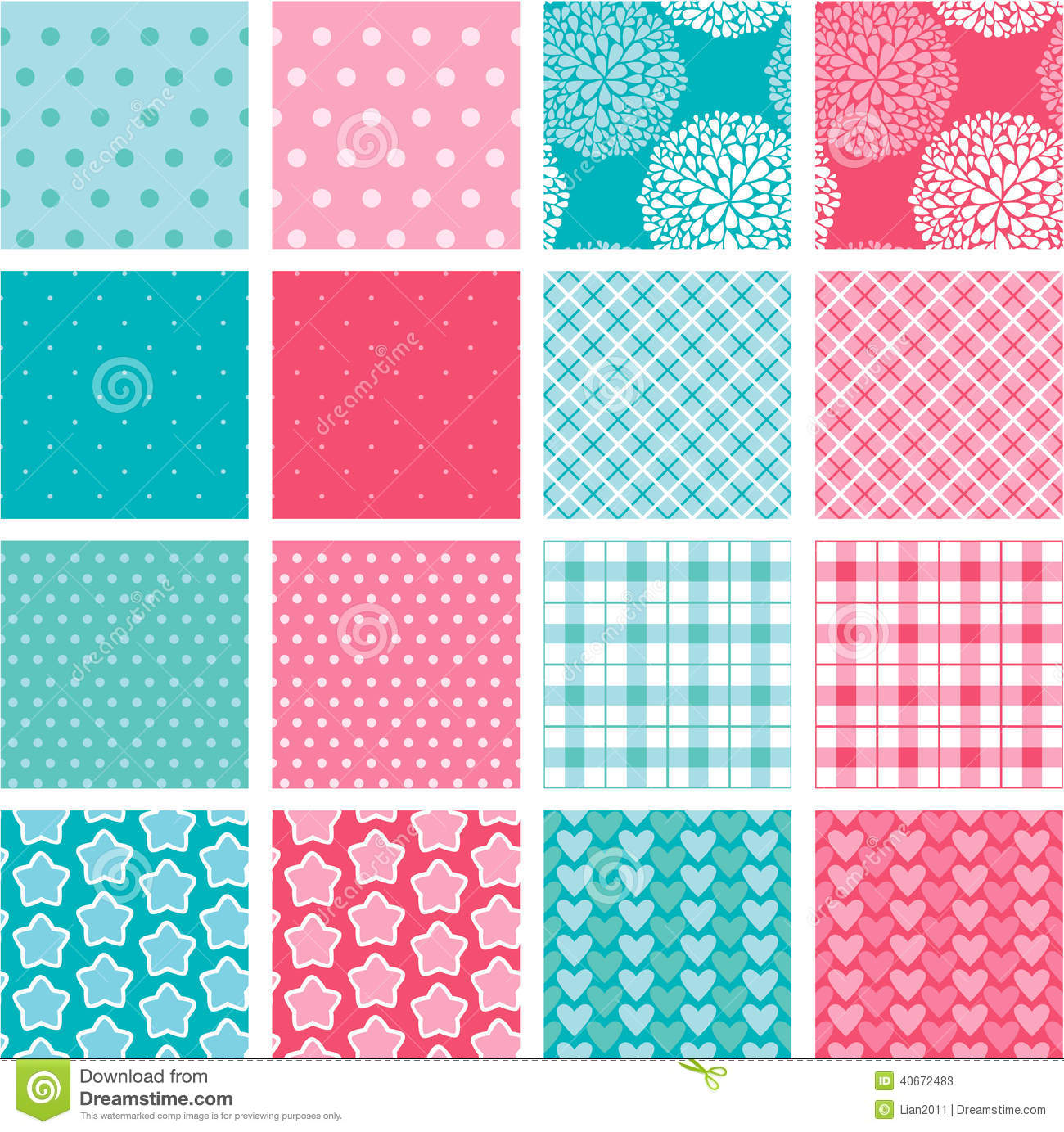 Set of fabric textures in pink and blue colors stock vector image 40672483 - Colors for girls ...