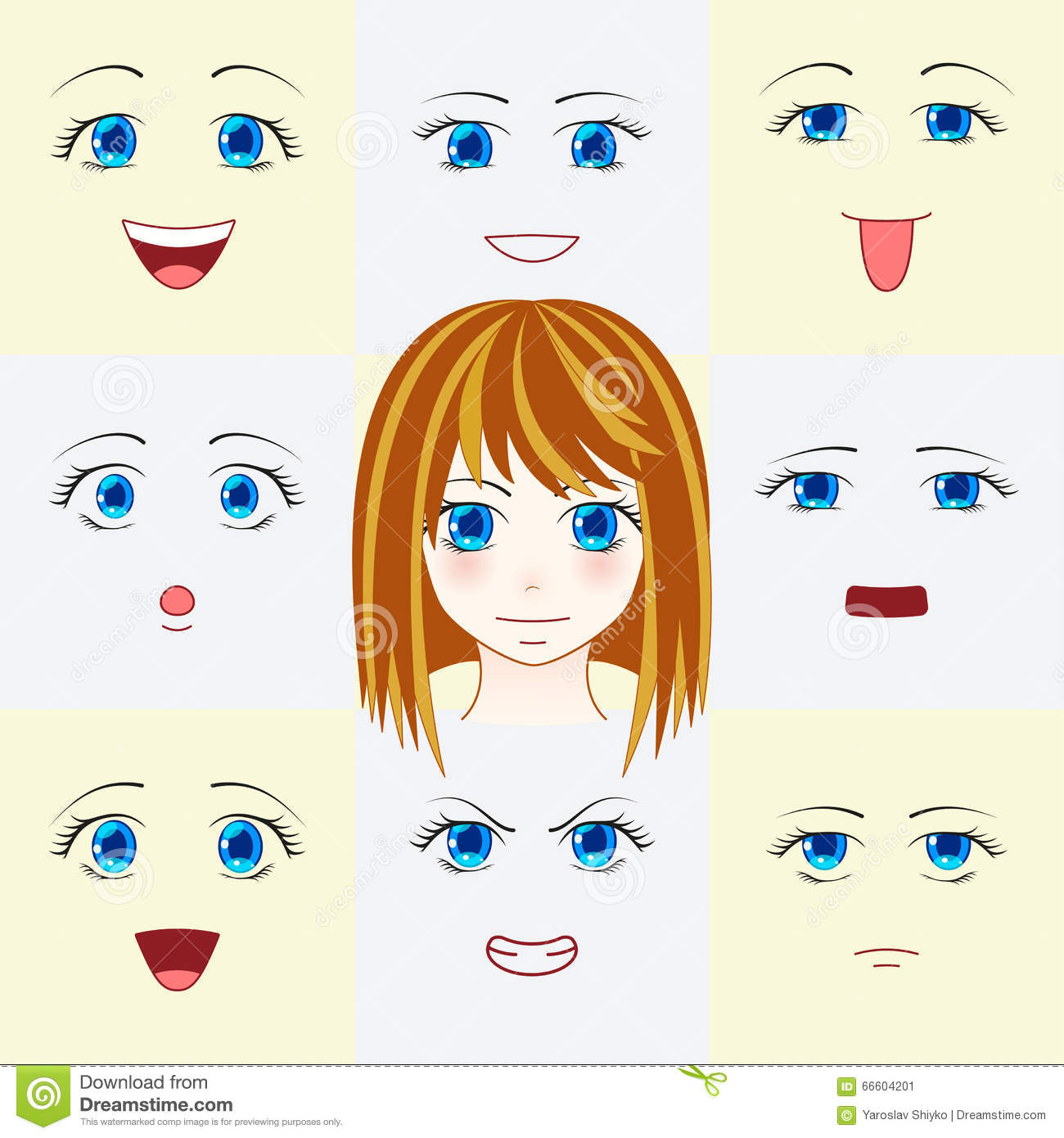 Set Of Faces In Manga Style Cute Anime Eyes And Mouths