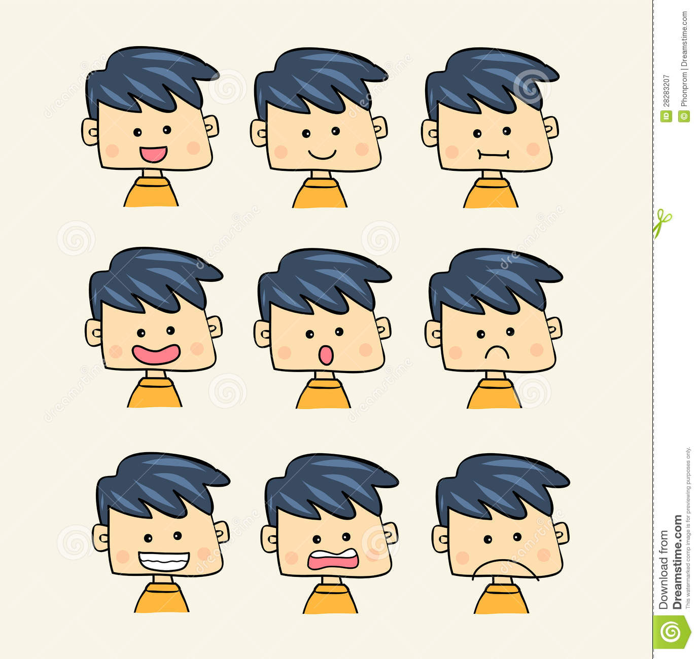 Set Of Faces With Various Emotion Expressions Cartoon