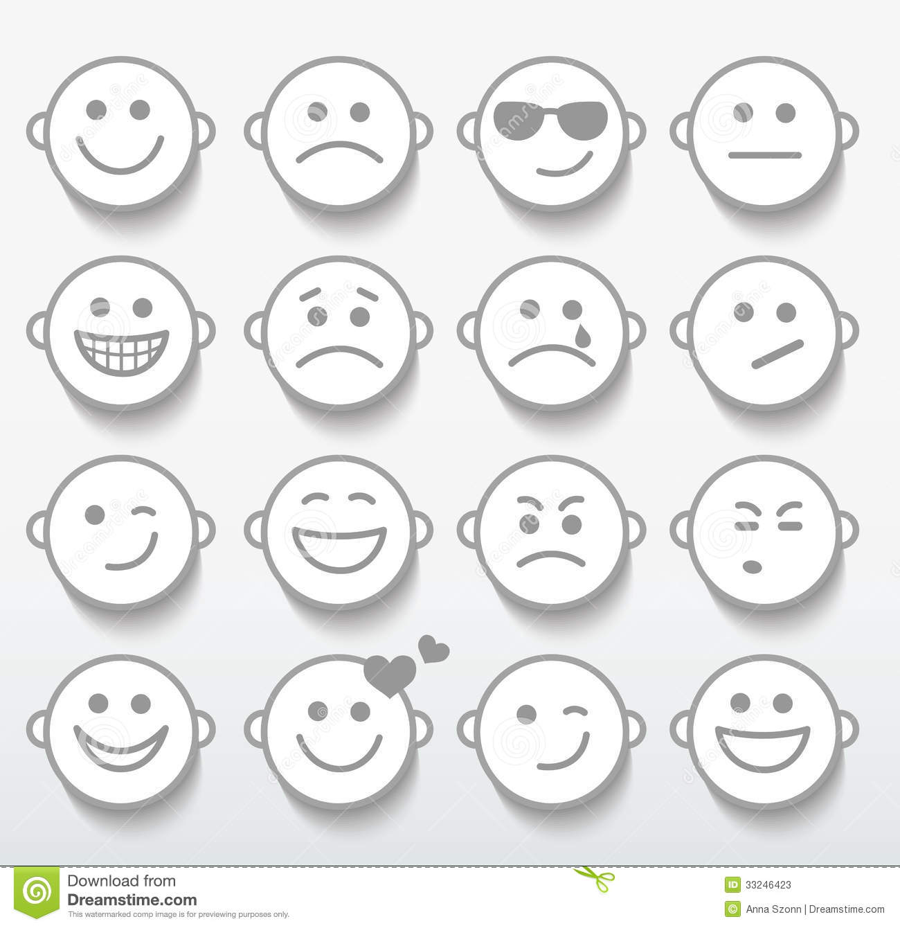 Worksheets Emotion Faces set of faces with various emotion expressions stock image photos
