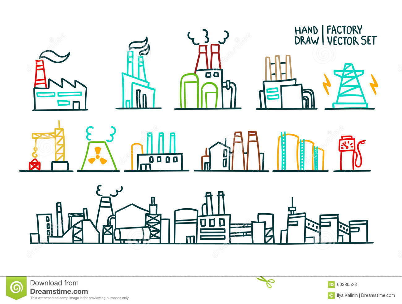 Set Of Factory Illustration Production Stock Vector