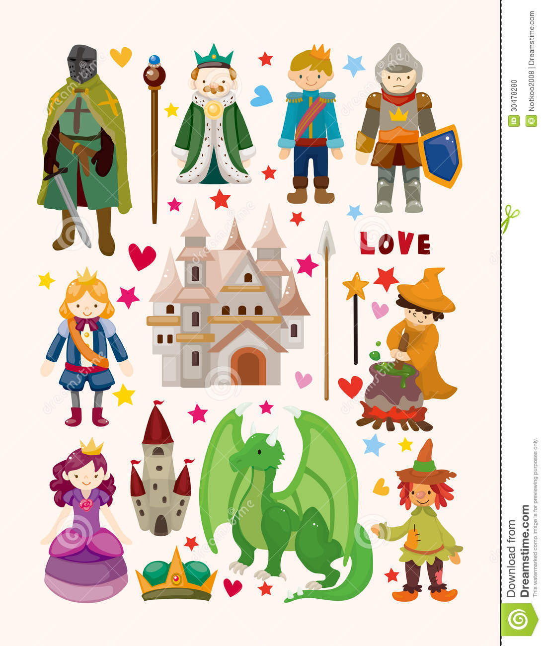 Set Of Fairy Tale Element Icons Stock Photo