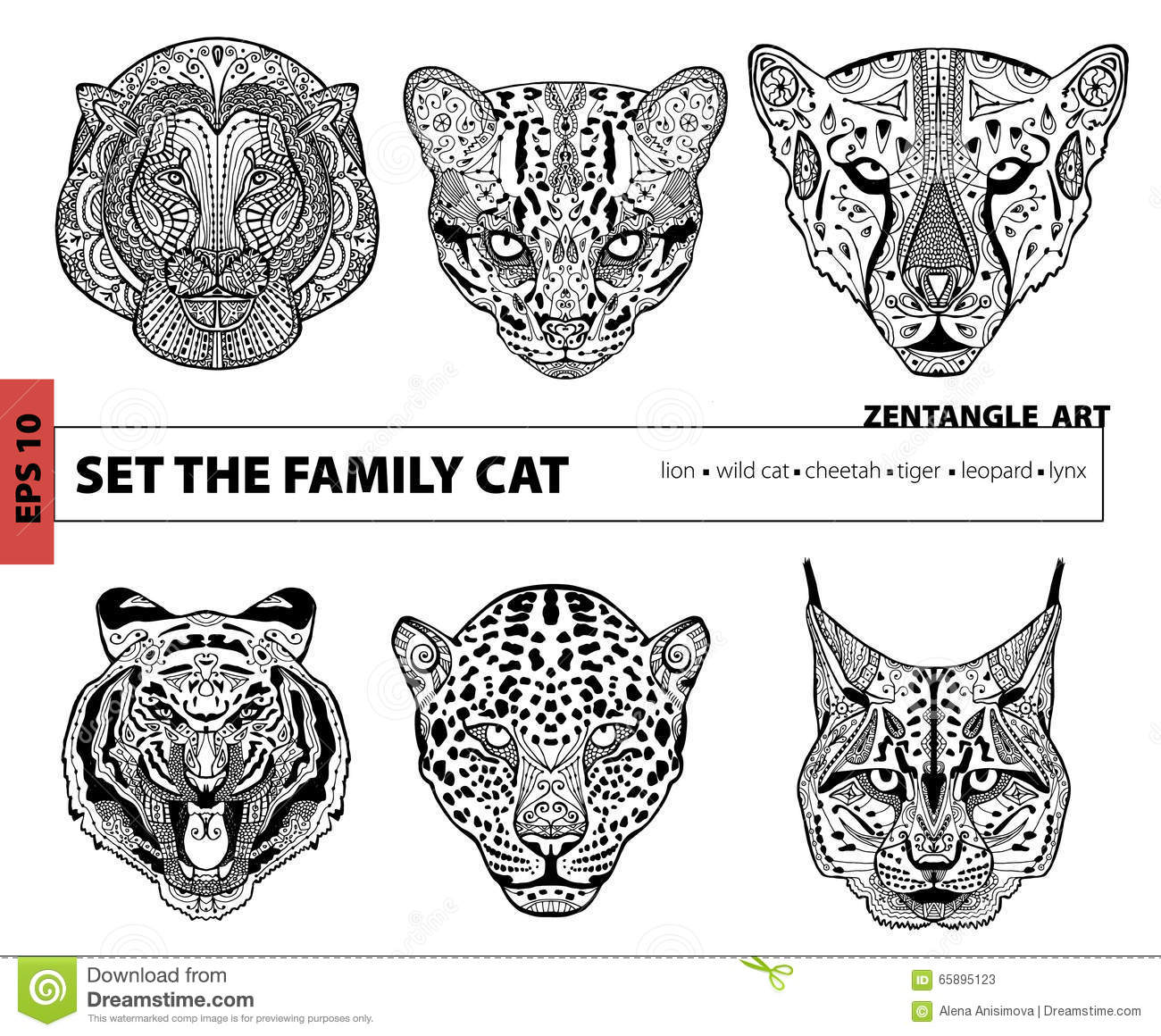 Coloring book for adults lion - Anti Stress Coloring Book Lion Set The Family Cat Coloring Book For Adults Zentangle Art