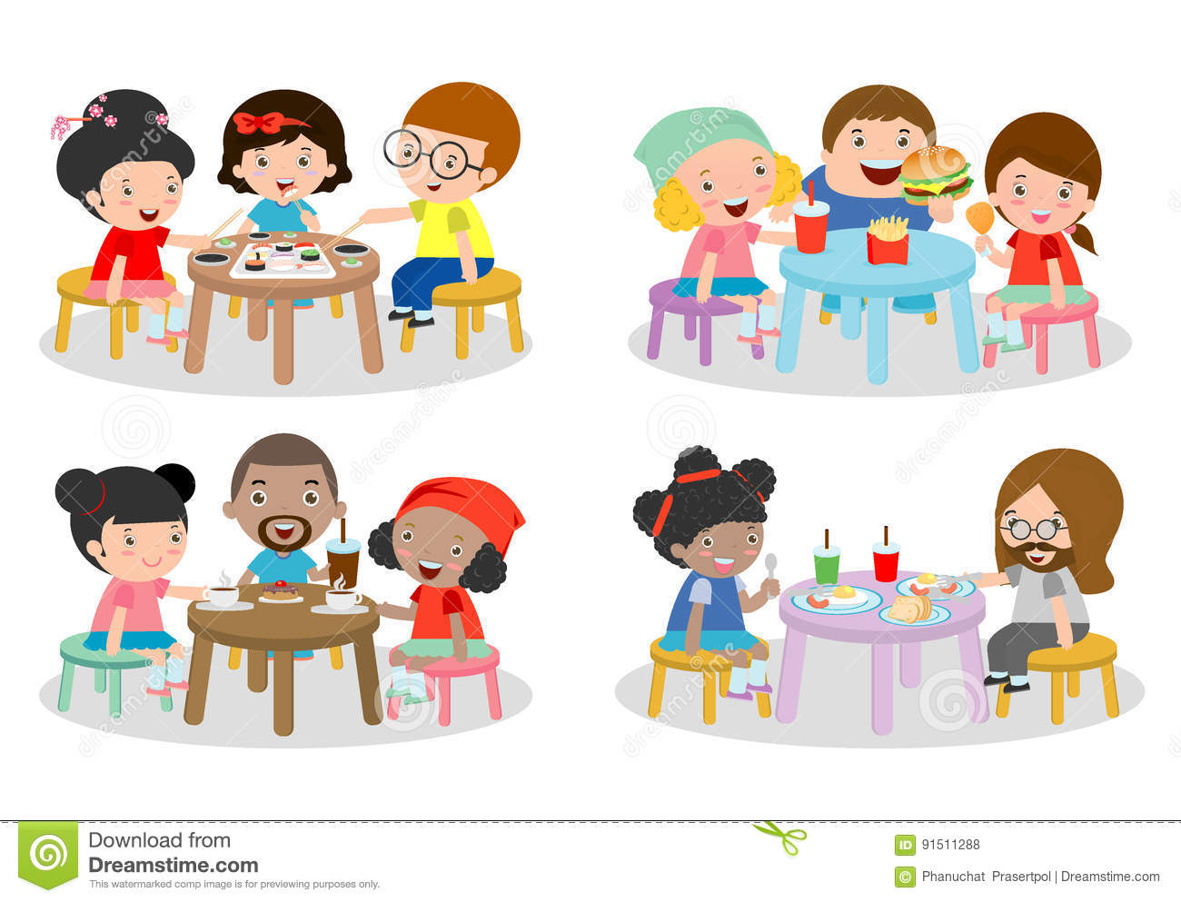 Set Of Family Sitting At Dining Table Eating Dinner Kids Fast Food