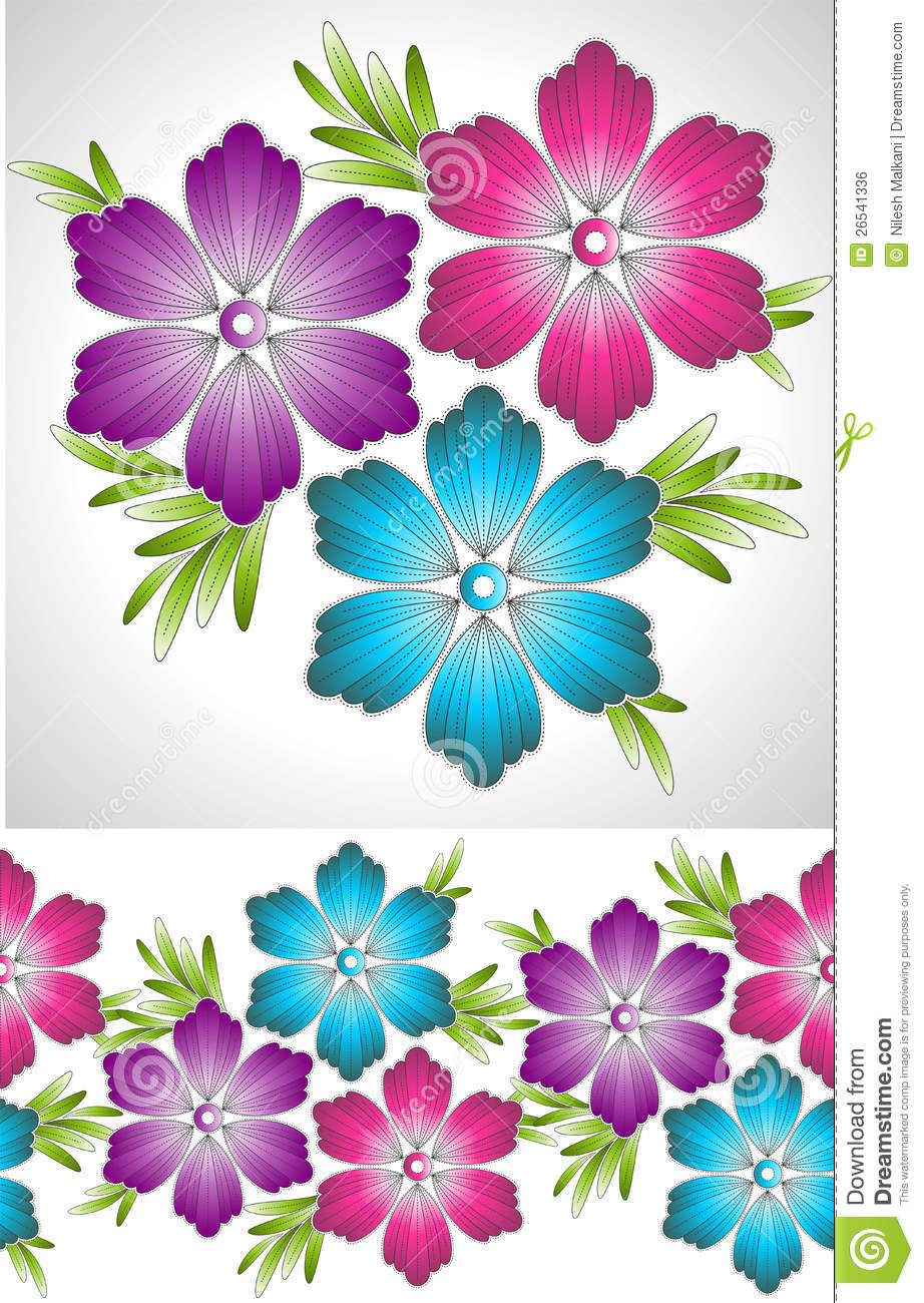 set of fancy vector flower and border royalty free stock