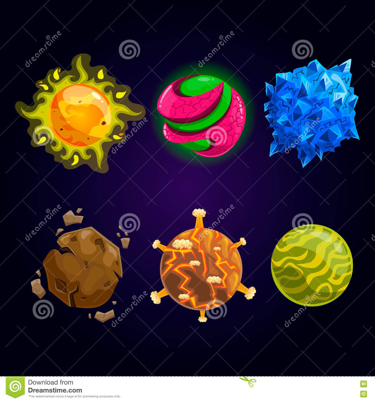 set of fantasy cartoon planet stock vector illustration of magic