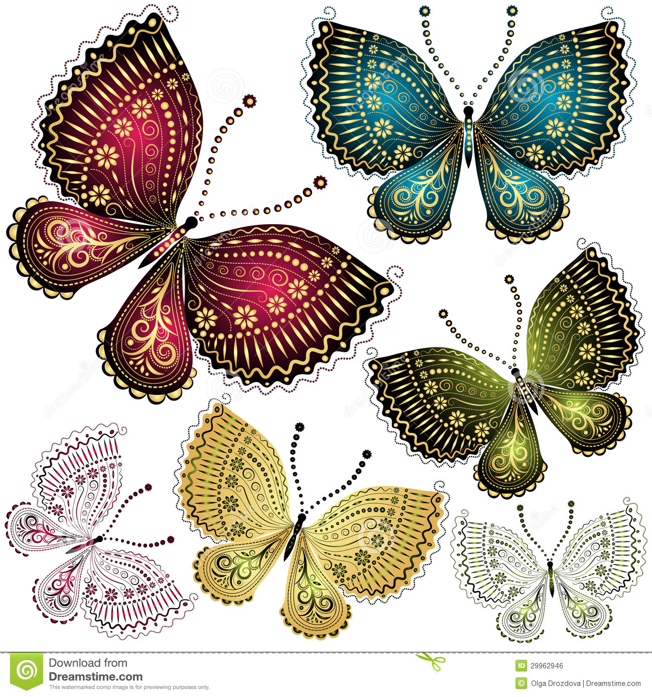 Set Fantasy Vintage Butterfly Royalty Free Stock Image ...