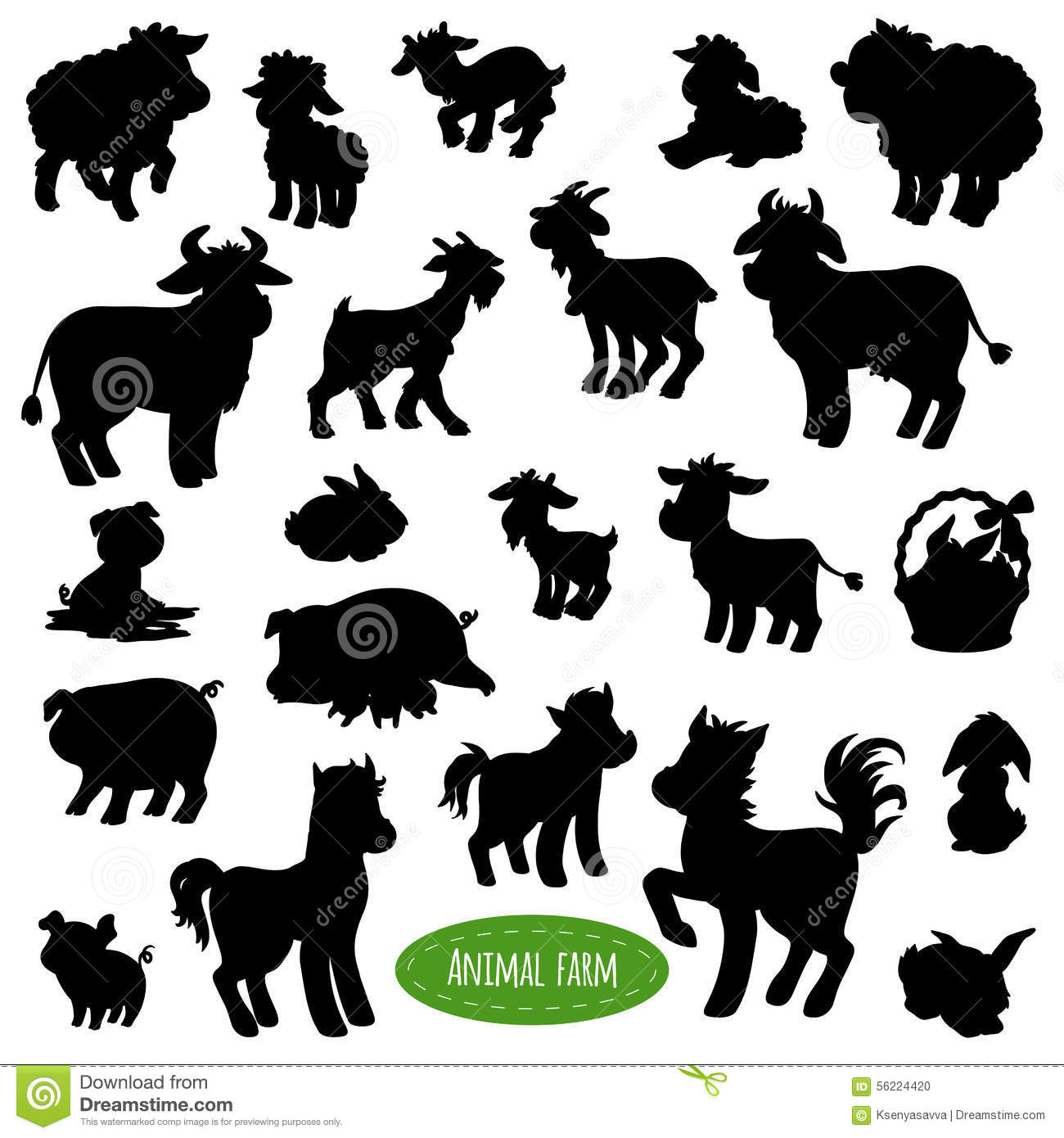 Set Of Farm Animal Silhouettes Stock Vector Illustration