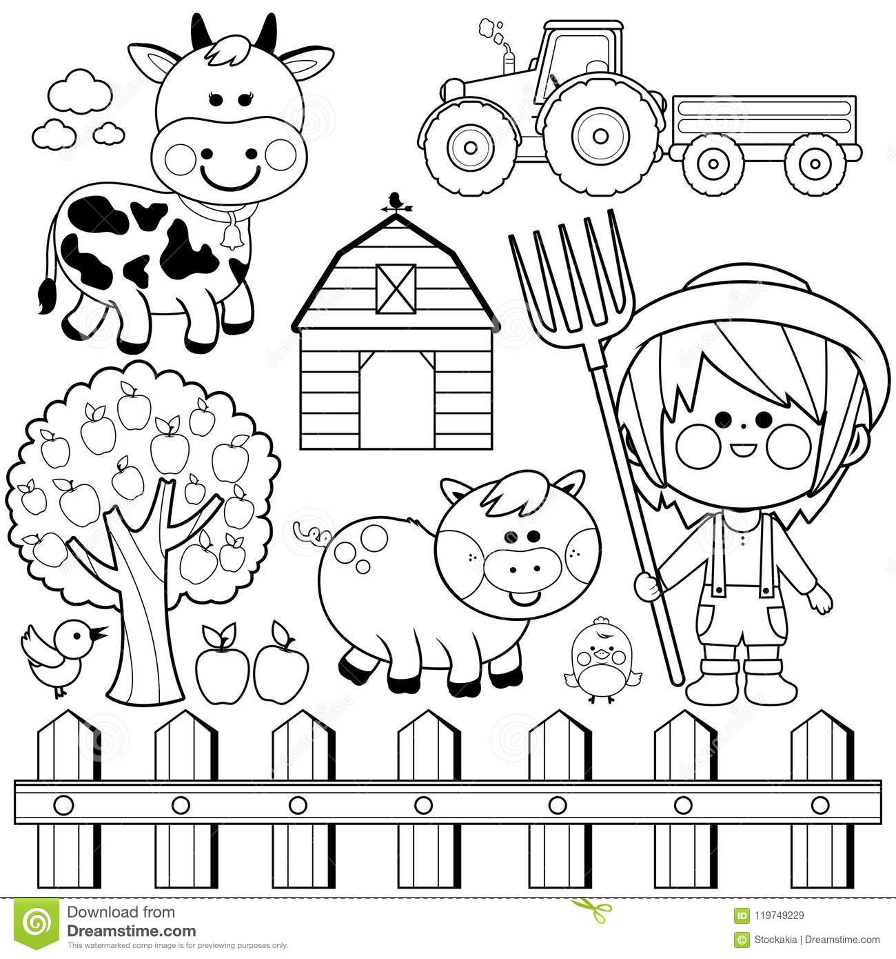 Download Farmer Boy And Animals Collection Black White Coloring Book Page Stock Vector