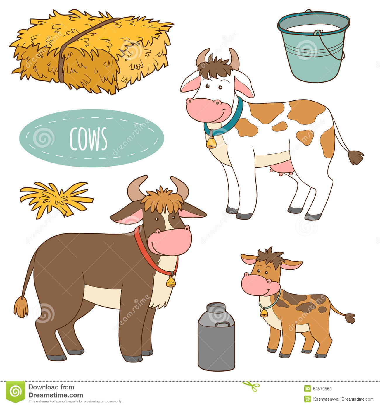 Set Of Farm Animals And Objects, Vector Family Cows Stock ...