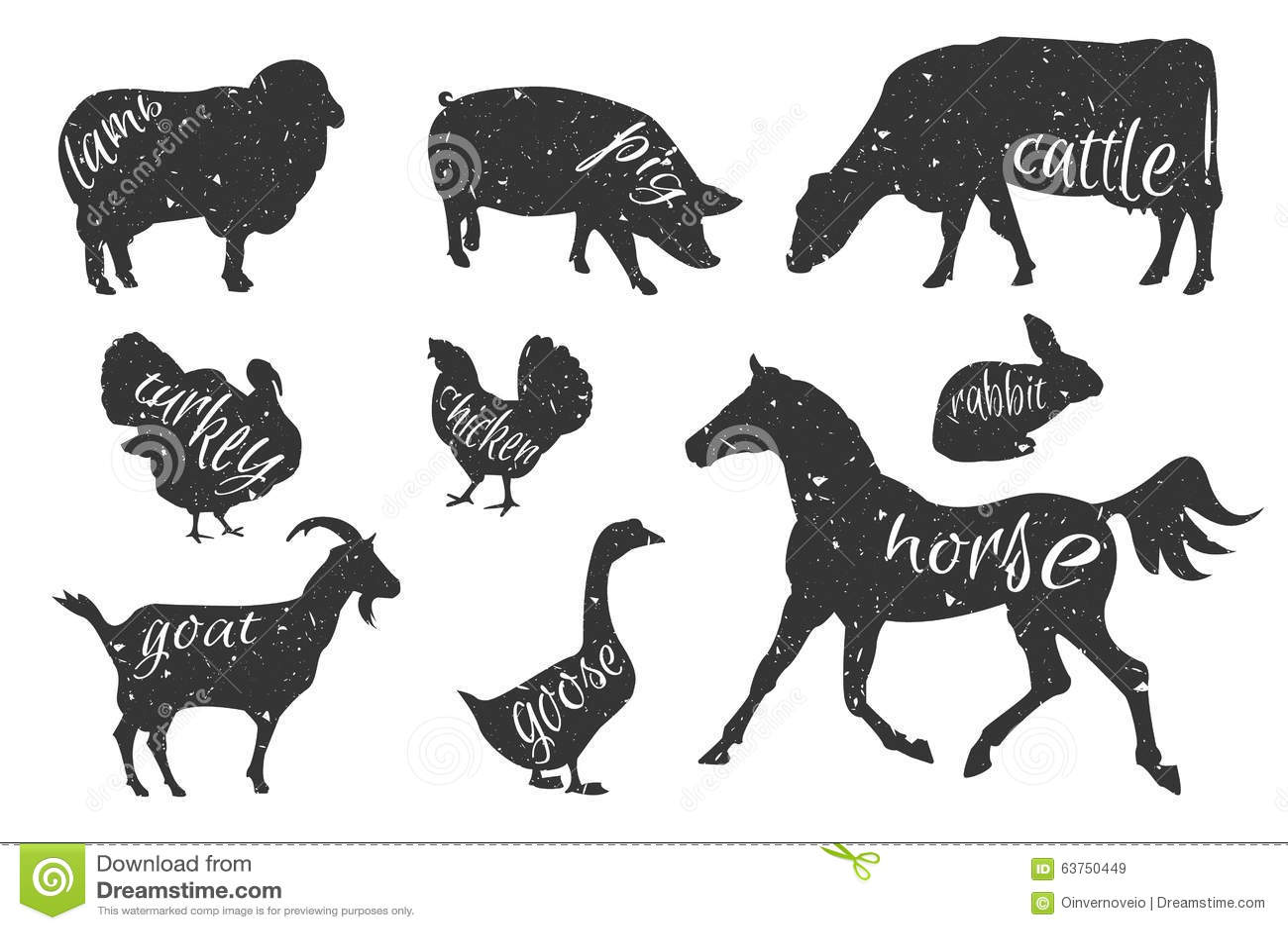 Set Of Farm Animals Silhouettes Stock Vector - Illustration of ...