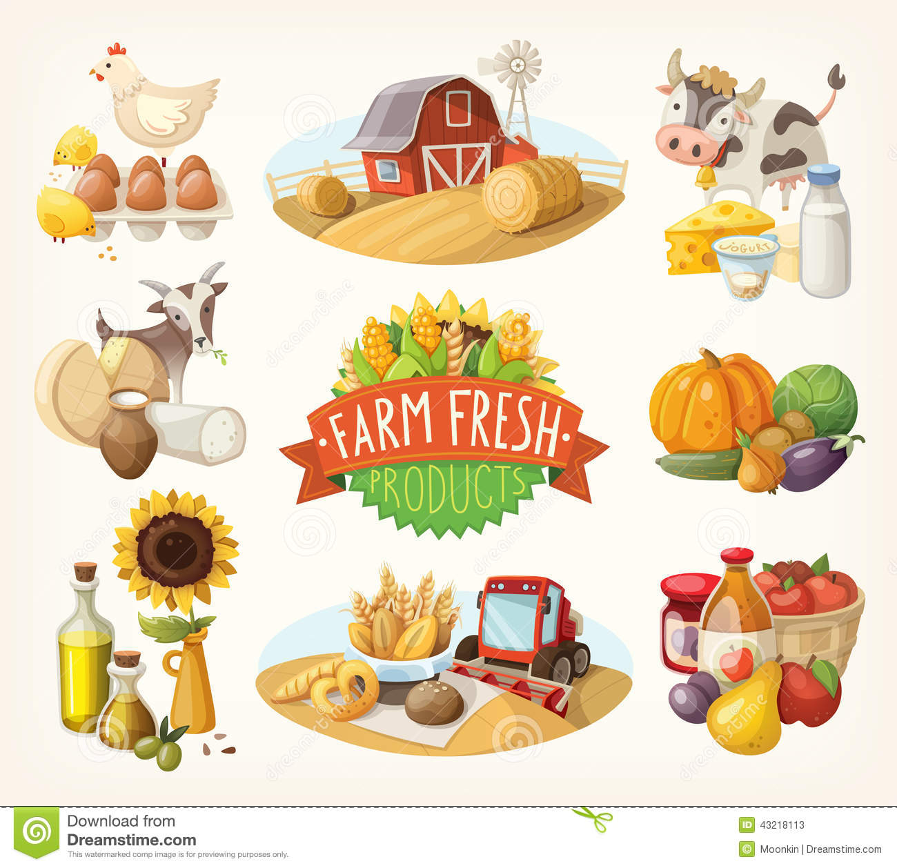 Set Farm Fresh Illustrations Stock Vector Image