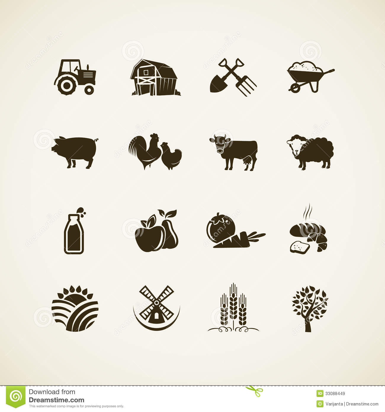 Set of farm icons - farm animals, food and drink production, organic ...