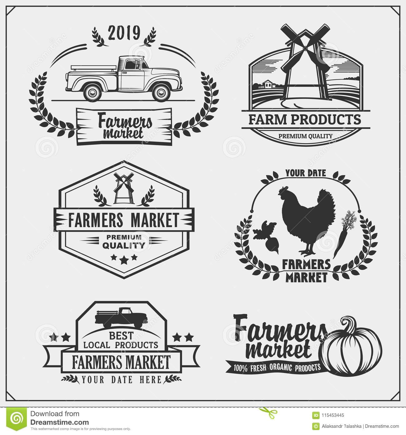 Set Of Farmers Market Emblems, Logos And Labels. Vector