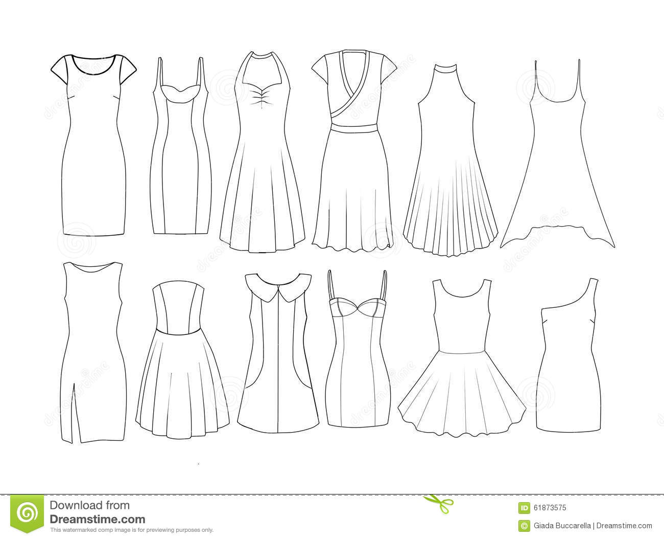 fashion designing templates free download - set of fashion flat templates sketches woman dresses