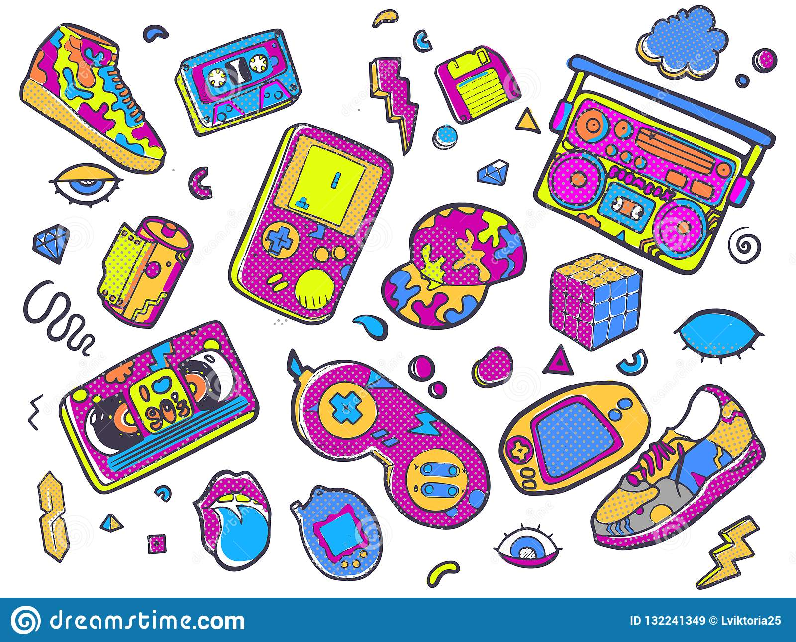 Back To The 90s  Vector Illustration In Trendy 80s-90s Style  Stock