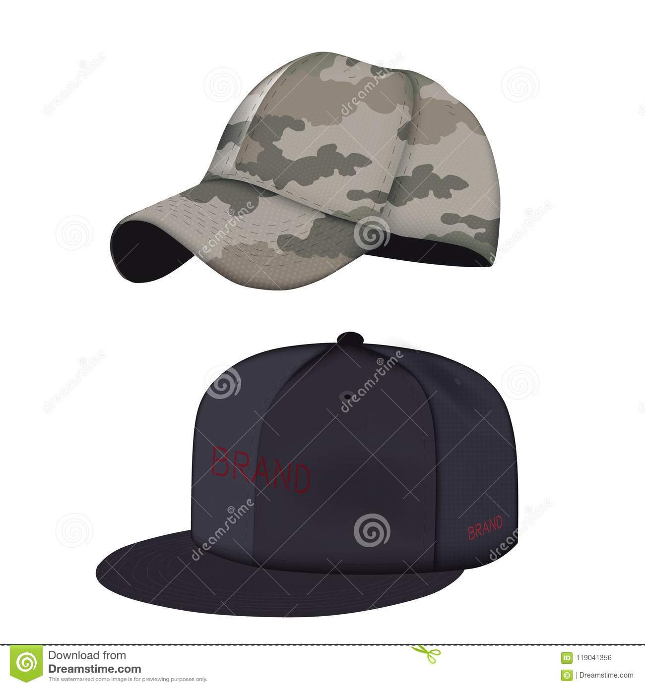 dafc6a13d0bc3a Realistic black and camouflage baseball caps set. Side view isolated.  Vector illustration. Mock-up. More similar stock illustrations