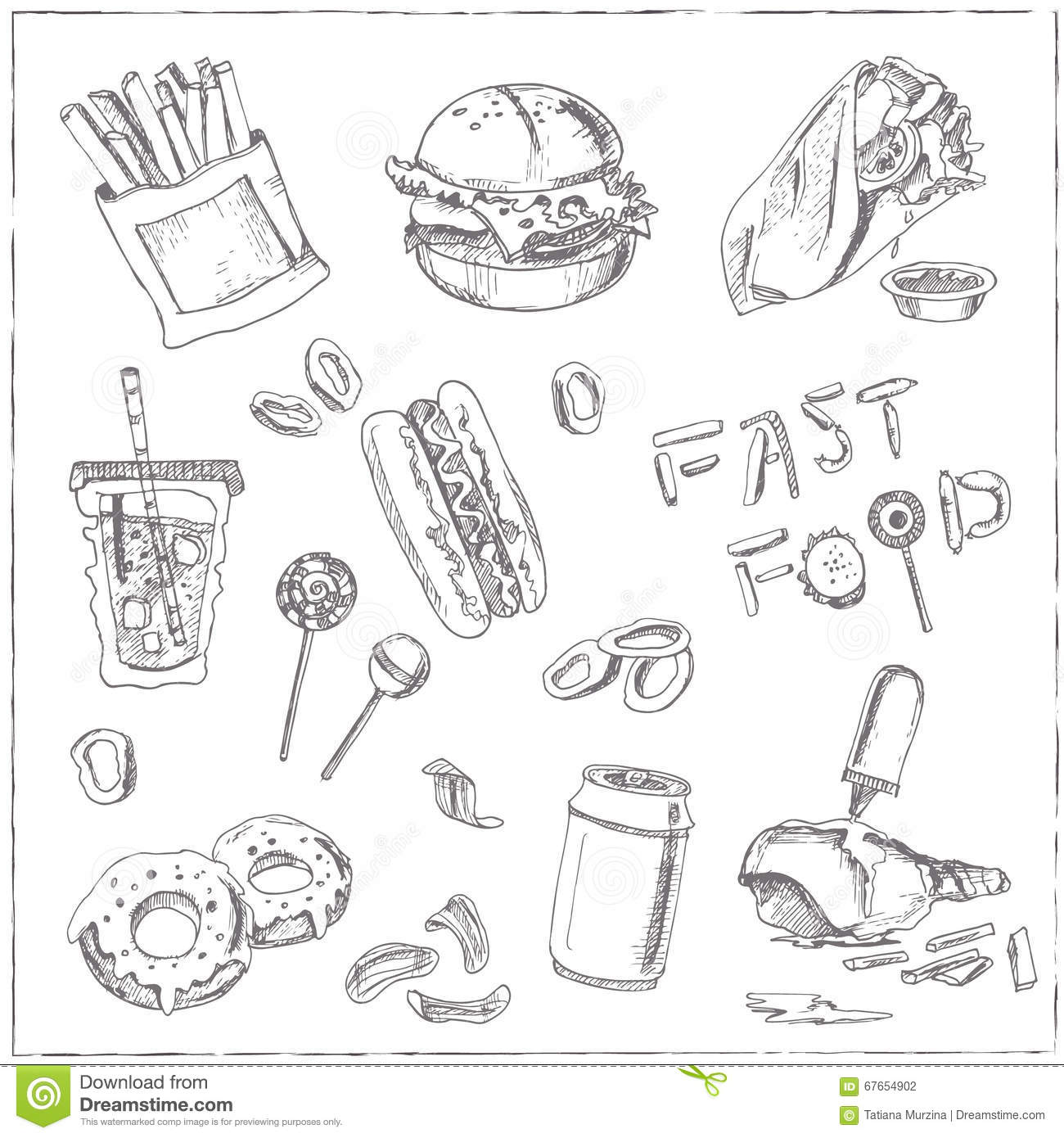 Set Of Fast Food Drawings. Sketches. Hand-drawing. Stock