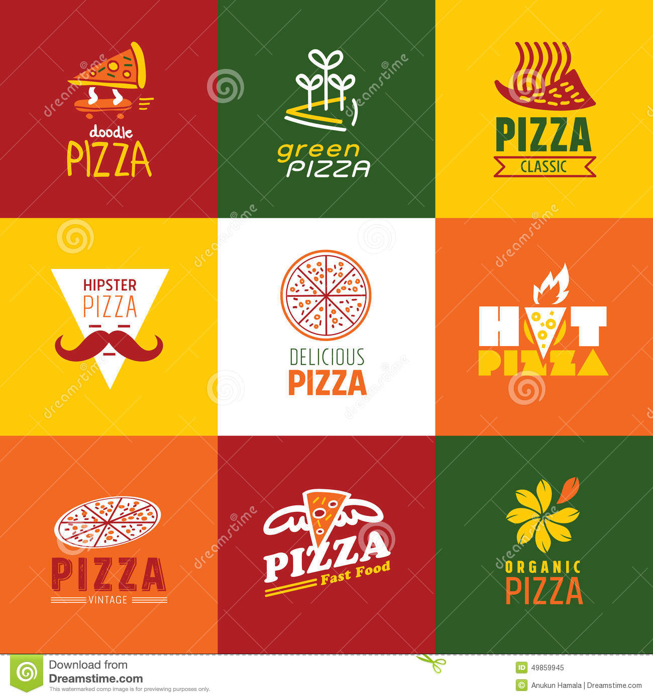 Set of fast food restaurant signs stock vector