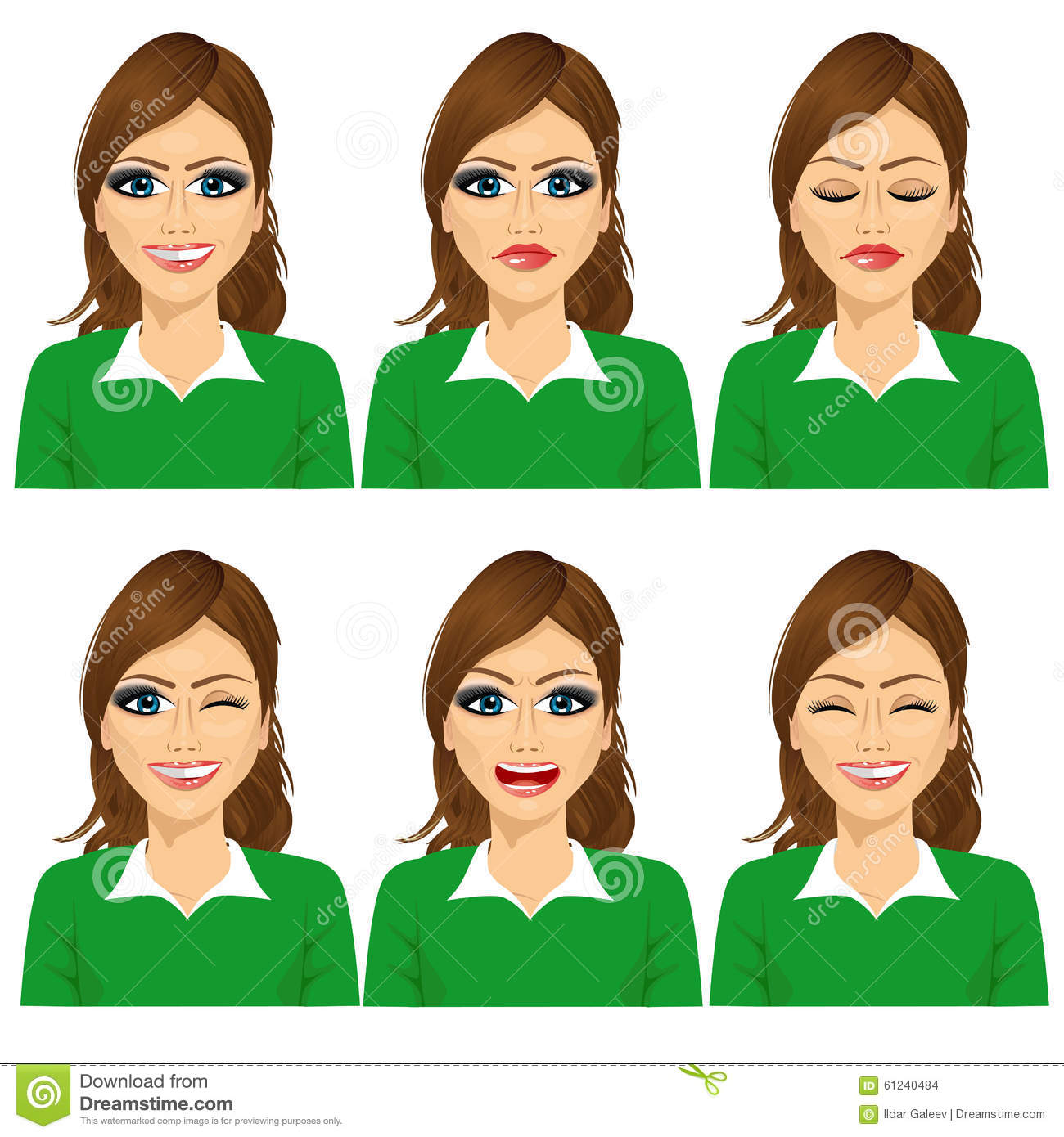 set of female avatar expressions