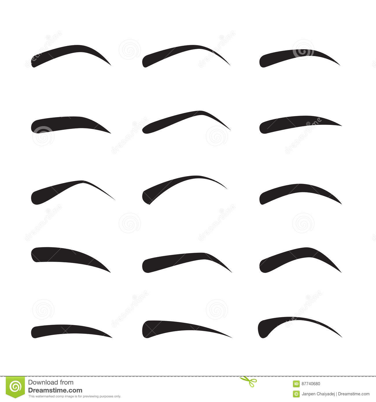 Set Of Female Eyebrows In Different Shapes And Types Stock Vector