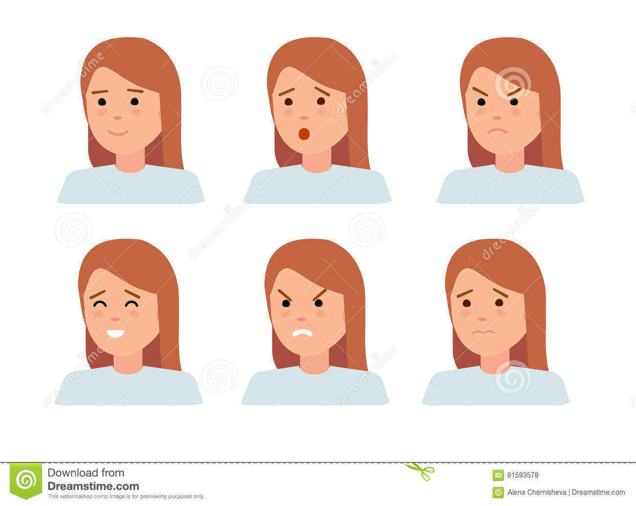 Download Set Of Female Facial Emotions. Woman Emoji Character With Different Expressions. Stock Vector - Illustration of emotional, fashion: 91593578