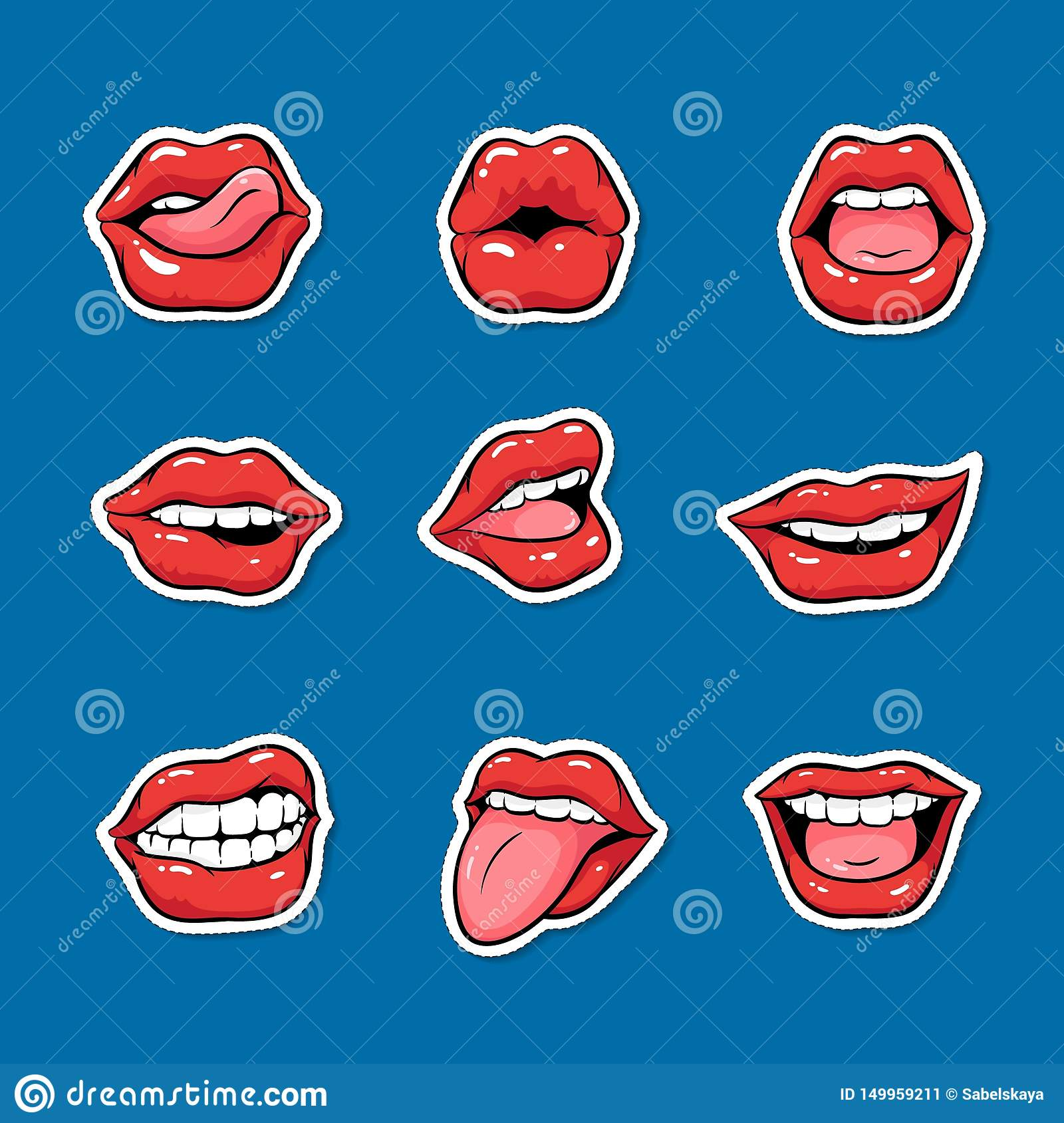 Set Of Female Mouths With Red Lipstick Cartoon Pop Art Style Stock Vector Illustration Of Comic Bite 149959211